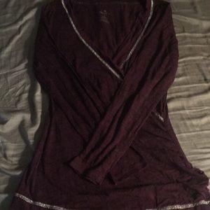 Long sleeved almost sheer Burgundy vanity shirt
